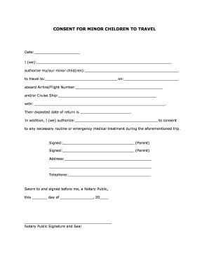 Printable Consent Form For Minor To Travel Fill Online