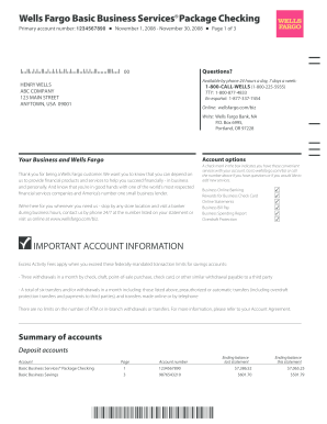 wells fargo bank statement template free download