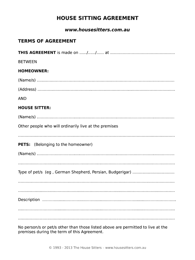 House Sitting Agreement Fill Online Printable Fillable