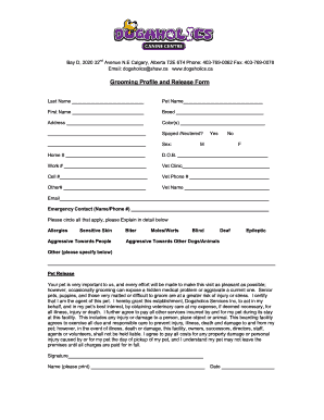 Grooming Release Form Fill Online Printable Fillable