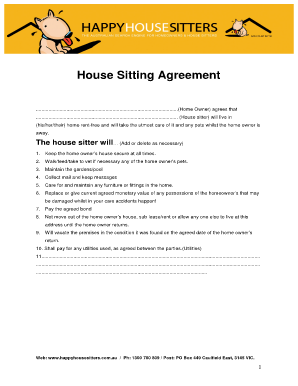Fillable Online House Sitting Agreement Happy House