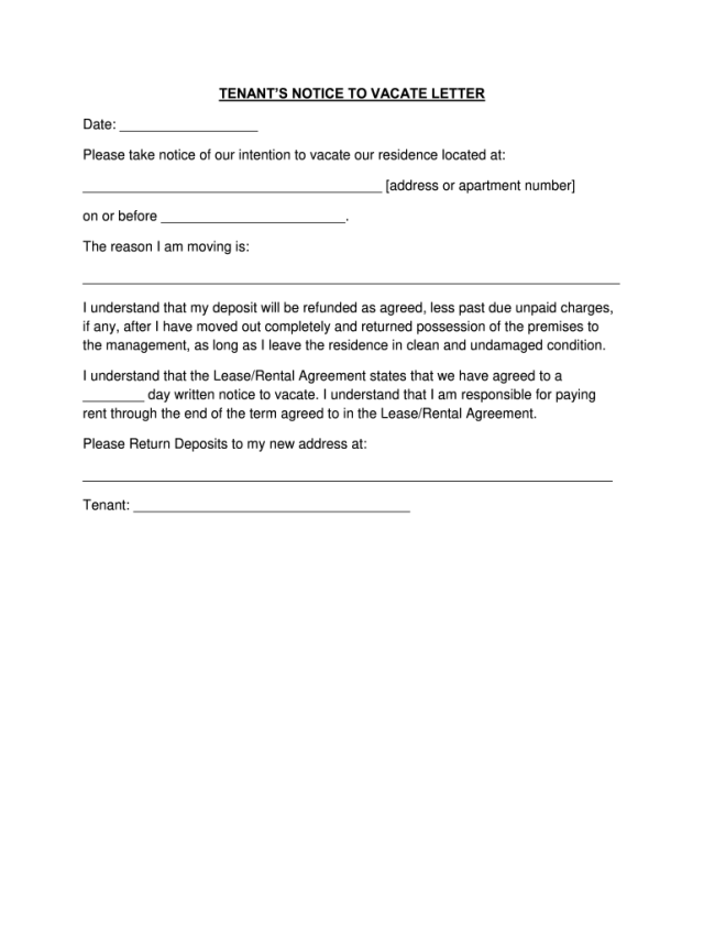 Notice To Vacate - Fill Online, Printable, Fillable, Blank  pdfFiller