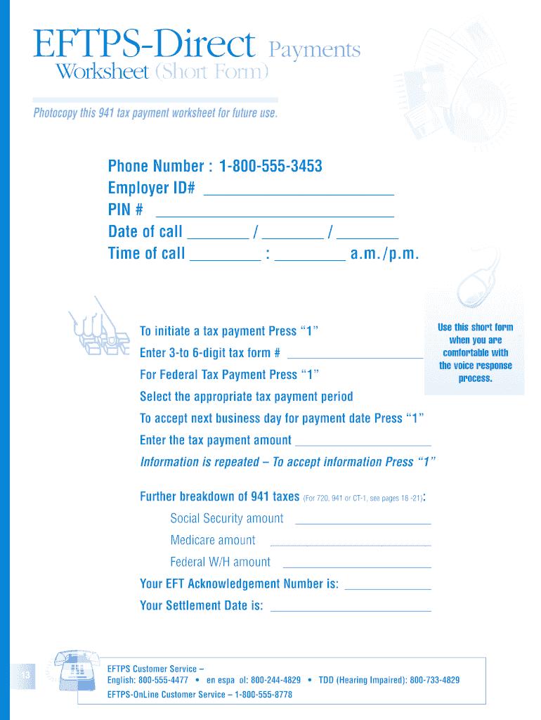 Eftps Business Phone Worksheet