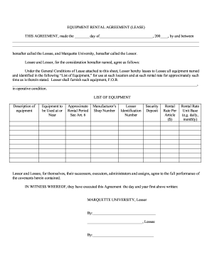 24 Printable Equipment Lease Purchase Agreement Forms And