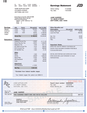 How To Creat A Earning Statement Fill Online Printable Fillable Blank PDFfiller