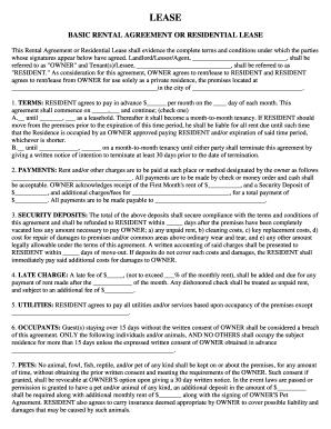 Basic Rental Agreement Fillable Fill Online Printable