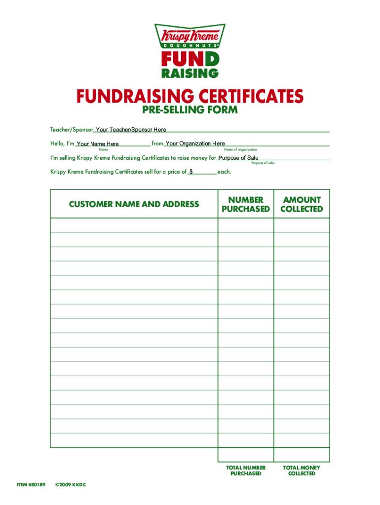 Krispy Kreme Fundraiser Forms Fill Online Printable