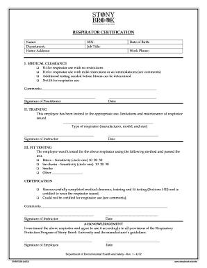 Stonybrook Respirator Certification Form Fill Online