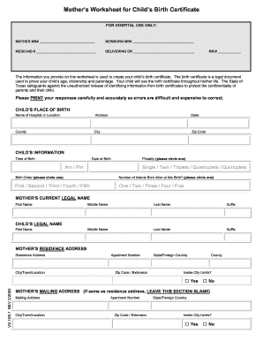 26 Printable Birth Certificate Worksheet Forms And Templates