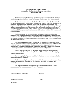 Free Contractor Agreement Template Forms Fillable