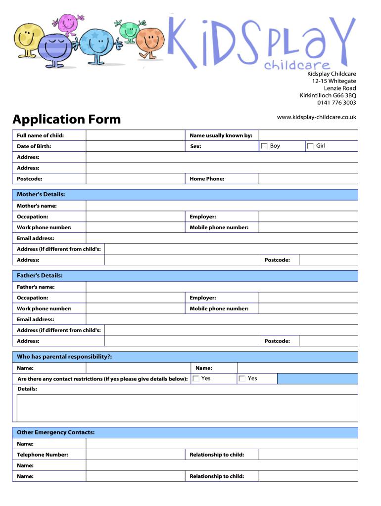 Kidsplay Childcare Application Form Fill Online Printable