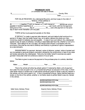 Promissory Note Indiana Car Fill Online Printable