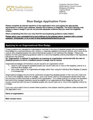 Fillable Online Staffordshire Gov Blue Badge Application
