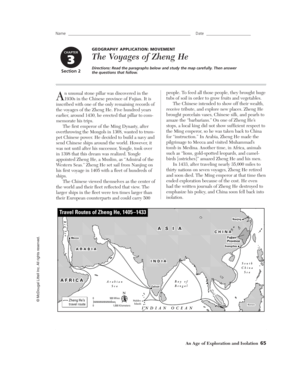 The Voyages Of Zheng He Worksheet Answer Key