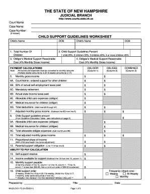 Bill Of Sale Form New Hampshire Child Support Guidelines