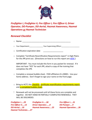 Fillable Online Renewal Checklist High Country Training