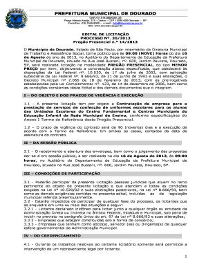Fillable Online Dourado Sp Gov Edital E Anexos Prego 14