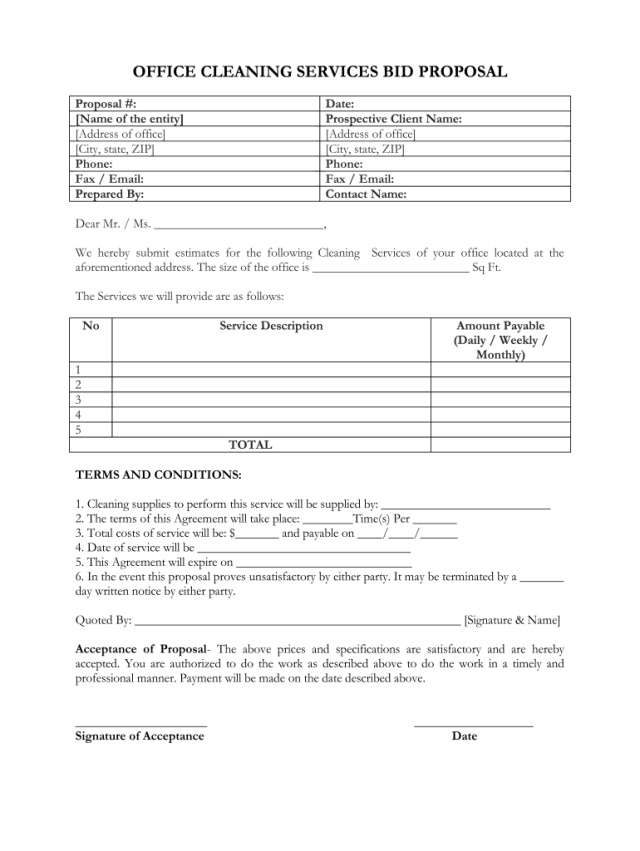Printable Cleaning Proposal Template - Fill Online, Printable