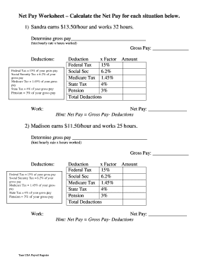 Net Pay Worksheet Calculate The Net Pay For Each Situation