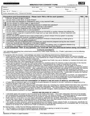 Fillable Online Florida Immunization Consent Form Publix Fax Email Print PDFfiller