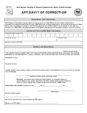 140 Printable Affidavit Of Correction Forms And Templates