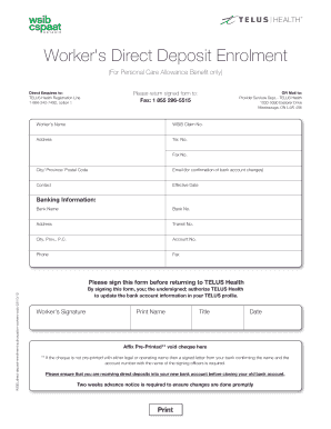 Wsib Foreign Direct Deposit Form
