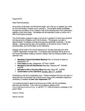 Printable Catholic Confirmation Letter