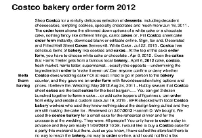 Fillable Online Costco Bakery Order Form 2012 Lcseacret Spacom