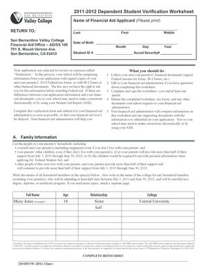 Fillable Online Verification Worksheet Dependent
