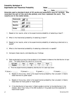 Probability Worksheet 4 Answer Key