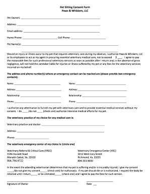 Pet Sitting Contract Fill Online Printable Fillable