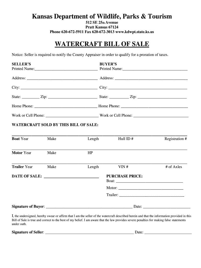 Bill Of Sale Kansas Fill Online Printable Fillable