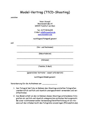 Fotovertrag Zwischen Auftraggeber Name Vorname Anschrift Plz