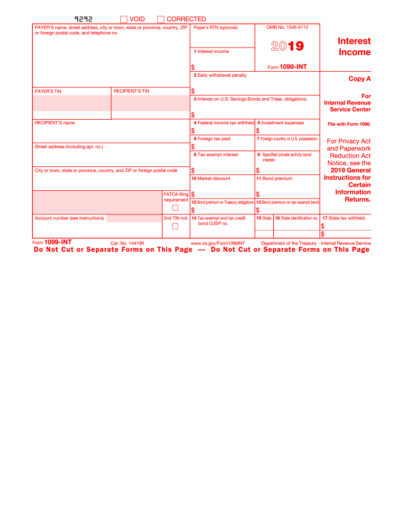2019 Form Irs 1099 Int Fill Online Printable Fillable