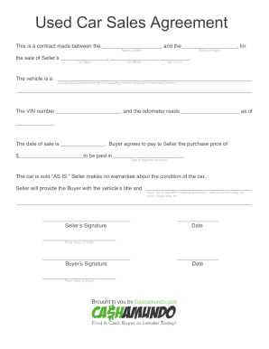 136 Printable Vehicle Sale Agreement Forms And Templates