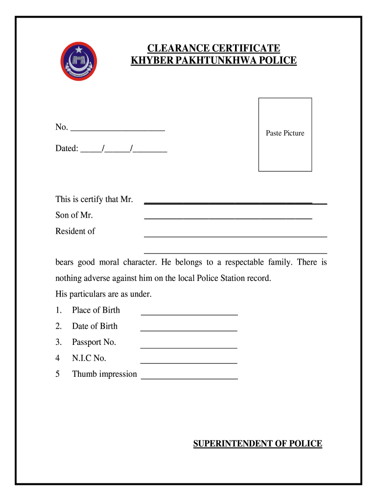 Police Verification Fill Online Printable Fillable