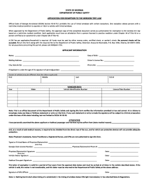 Window Tint Exemption Form Fill Online Printable Fillable Blank Pdffiller