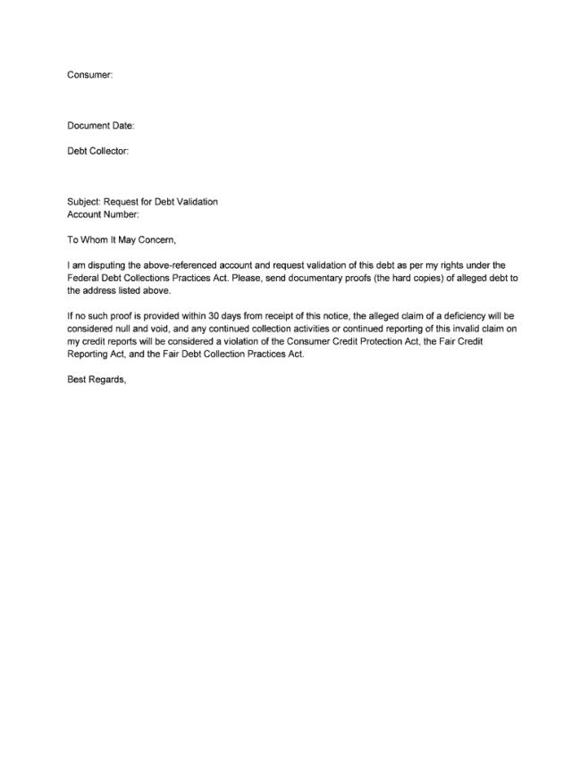 Sample Letter For Debt Validation - Fill Online, Printable