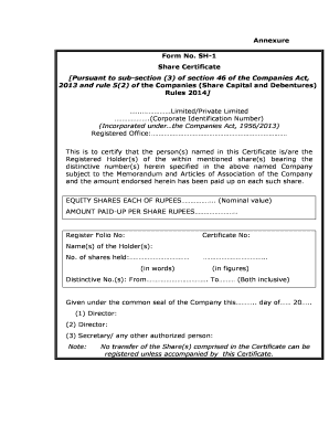 Share Certificate Format Fill Online Printable Fillable