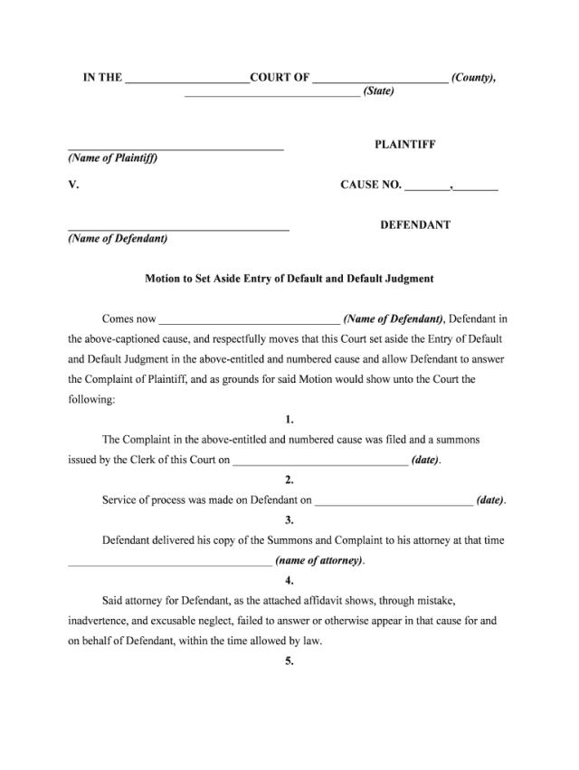 Motion To Set Aside Judgement Ga - Fill Online, Printable