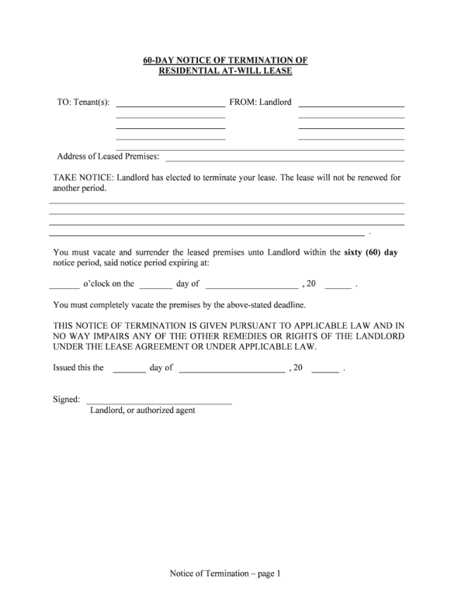 Ga 19 Day Notice To Vacate - Fill and Sign Printable Template