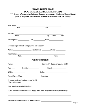Daycare Application Fill Online Printable Fillable