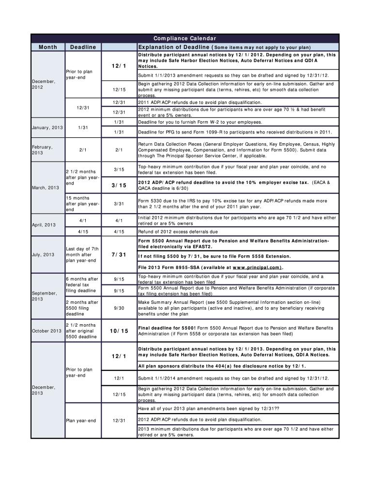Compliance Calendar Fill Online Printable Fillable