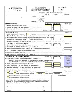 Fillable Online Hawaii Child Support Worksheet