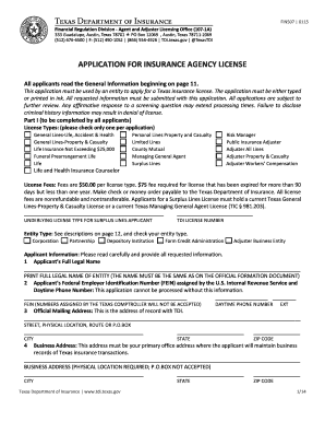 Fillable Online Tdi Texas Licensing Application For