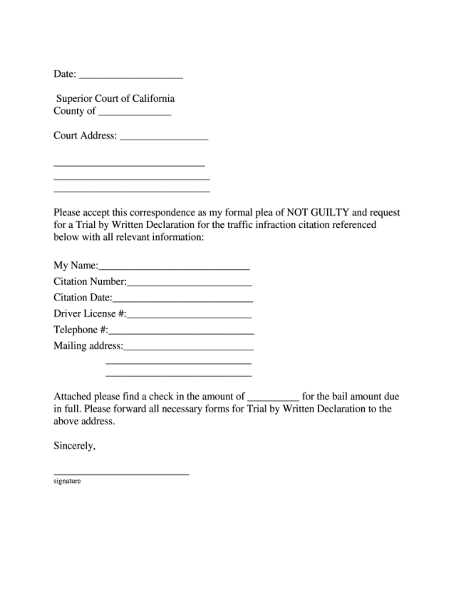 Trial By Written Declaration Sample - Fill Online, Printable
