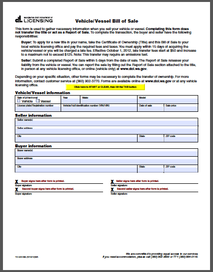 fillable vehicle bill of sale Washington Vehicle Bill of Sale Form - Free Fillable PDF Forms ...
