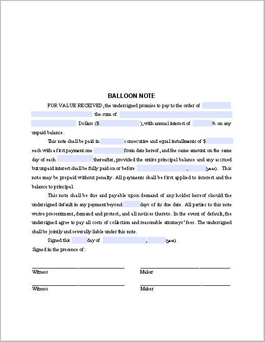 Balloon Note Sample - Free Fillable PDF Forms | Free Fillable PDF Forms