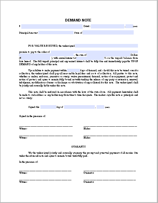 Demand Note Sample - Free Fillable PDF Forms | Free Fillable PDF Forms