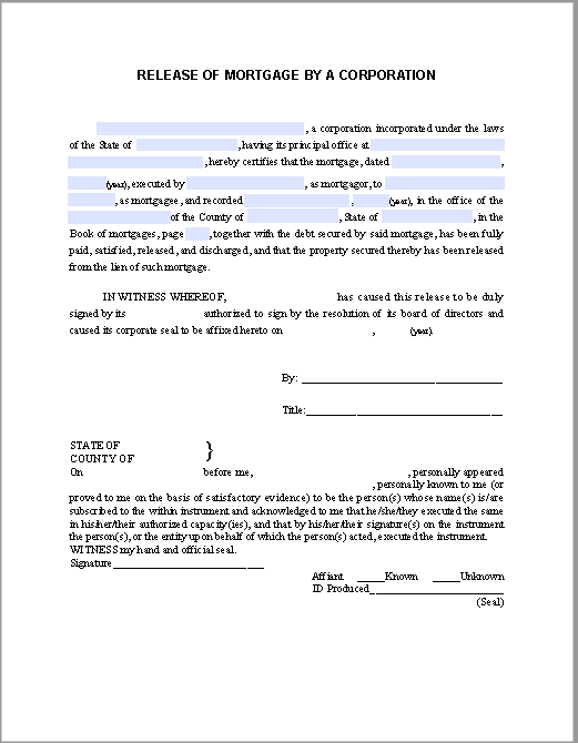 Release Of Mortgage Certificate By A Corporation Free Fillable